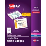 """Avery Name Badges with Lanyards, Print or Write,  3"""" x 4"""", Badge Holders & Lanyards, 100 Inserts (74459)"""