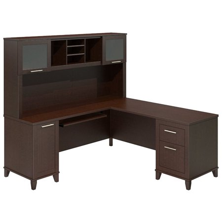 "Bush Somerset 71"" L Shaped Computer Desk with Hutch in Mocha Cherry - image 4 de 5"