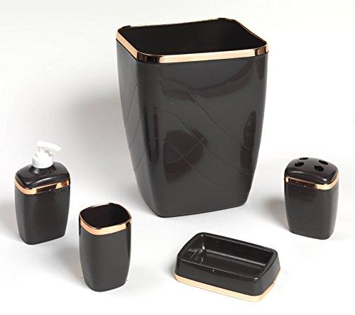 Royal Bath 5-Piece Plastic Bath Accessory Set (Brown Gold) by