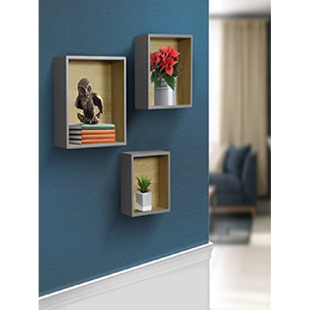 Decorative Item Set - Sorbus Floating Wood Box Shelves - Cube/Square Frame Desing for photos, Decorative Items, and Much More (Set of 3, Grey)