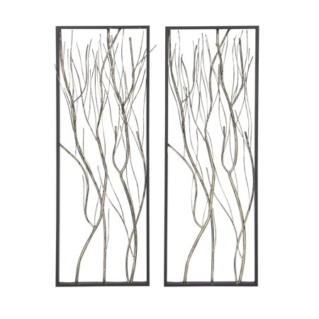 Decmode Set of 2 Natural Iron Twig Wall Decors, White