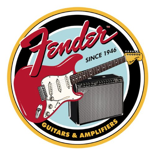 Fender? Round G&B Tin Sign Multi-Colored