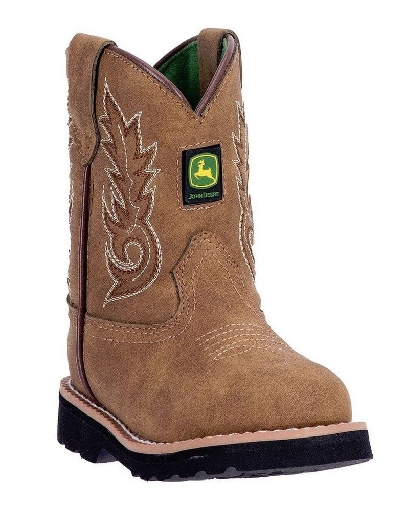 John Deere Western Boots Boys Kids Round Toe Leather Cement Tan JD1031 by John Deere