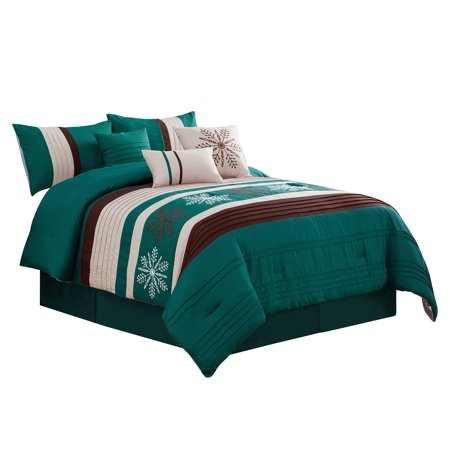 7-Pc Winter Wonderland Snowflake Embroidery Pleated Comforter Set Teal Green Beige Brown Queen](Alice In Wonderland Queen)