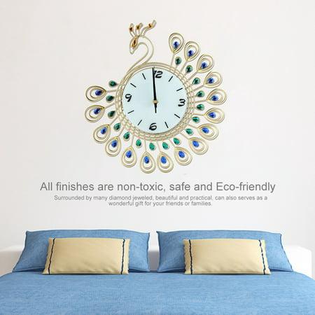 Greensen Horloge murale en forme de paon de style européen Creative Iron, pendule murale à diamant, horloge murale de style européen, horloge murale - image 5 de 8