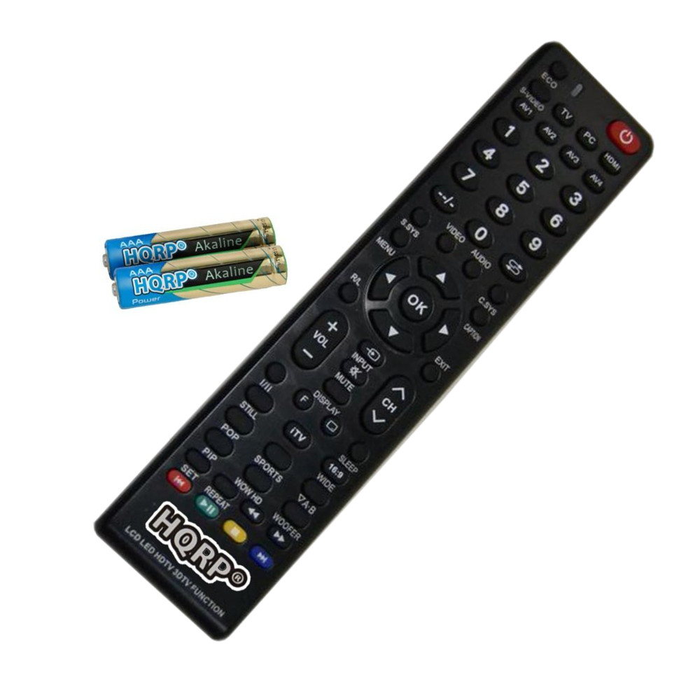 HQRP Remote Control for Sanyo LCD-42K40HD, PID-42AE1 LCD LED HD TV Smart 1080p 3D Ultra 4K + HQRP Coaster