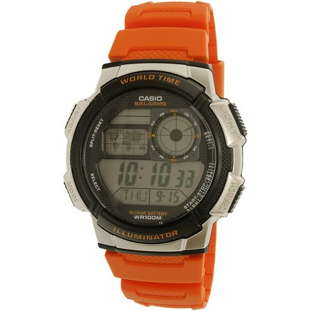 Casio Men's World Time Watch, Orange, - Orange Face Watch