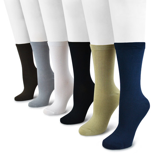 MUK LUKS Women's 6 Pair Pack Rayon from Bamboo Crew Socks