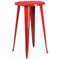 Bowery Hill Metal Patio Bistro Table in Red