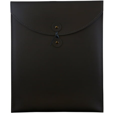 JAM Leather Portfolio Envelope, 9.5x12.5, 1/Pack, Black, Button String Black Executive Leather Portfolio