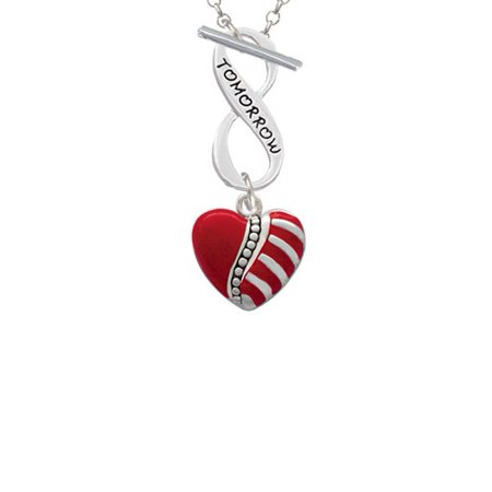 Striped Red Enamel Heart with Beaded Decoration Today Tomorrow Infinity Toggle Chain Necklace