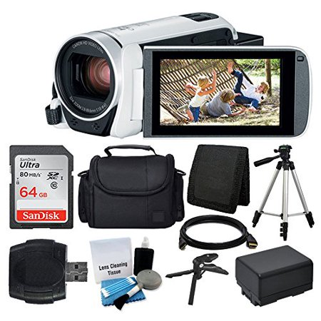 Deluxe Digital Video (Canon VIXIA HF R800 Camcorder (White) + SanDisk 64GB Memory Card + Digital Camera/Video Case + Extra Battery BP-727 + Quality Tripod + Card Reader + Tabletop Tripod/Handgrip + Deluxe Accessory Bundle)