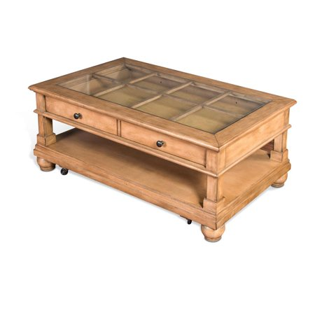 Dockside Collection 3250DS-C 48 Coffee Table with Glass Top  2 Felt Lined Drawers and Bun Feet in Desert Sand Finish