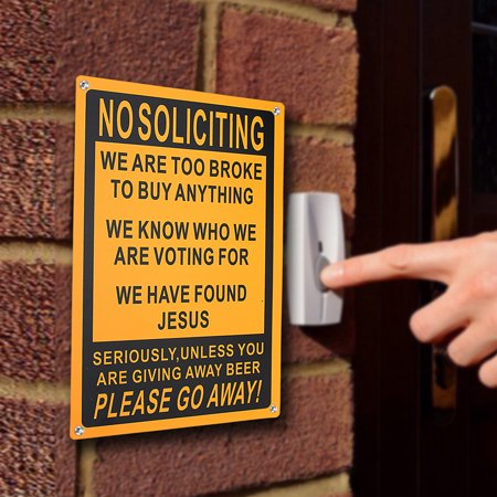 Funny Door Signs - 18x28cm No Soliciting Funny Sign Go Away Front Outdoor Door Novelty Gift Signs