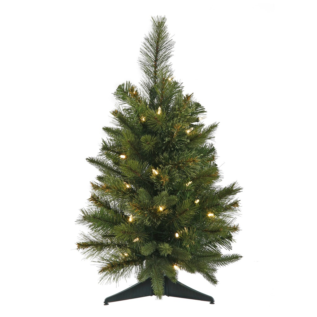 2' Pre-Lit Battery Operated Mixed Pine Cashmere Christmas Tree - Clear LED