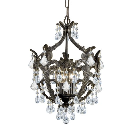 Crystorama 5195-EB-CL-S Legacy 5 Light 14 inch English Bronze Mini Chandelier Ceiling Light in Clear Swarovski Strass