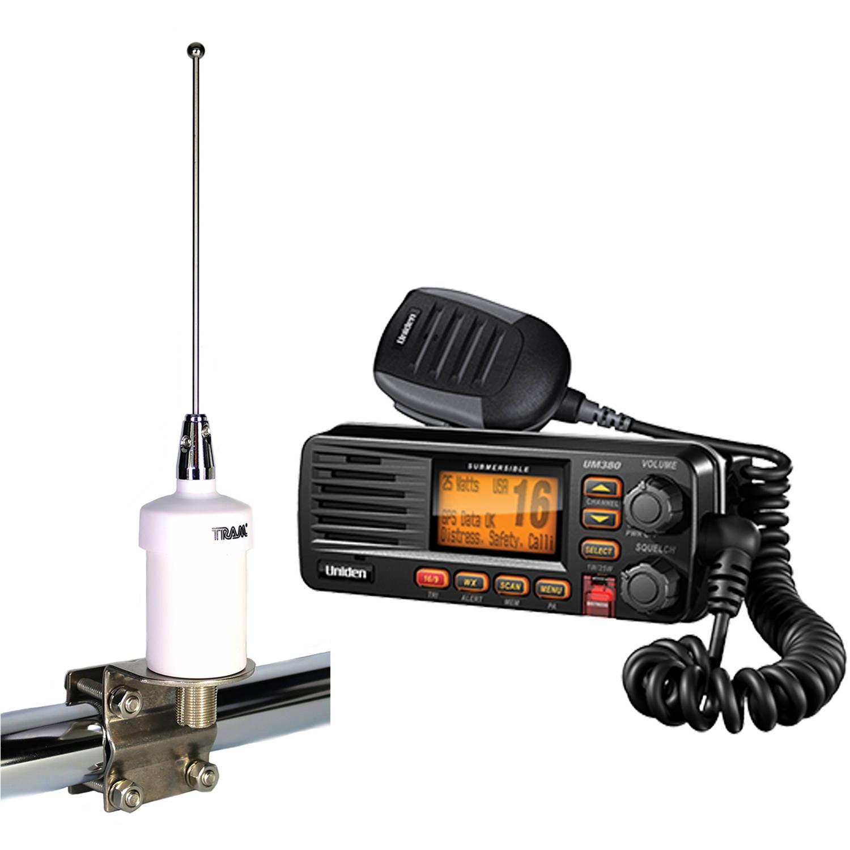 Uniden UM380 Fixed Mount VHF/2-way Marine Radio and Tram 1603 VHF Marine Antenna, White