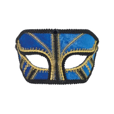 Deluxe Costume Blue And Gold Venetian Carnival Mask With Black Lace Trim (Ideas For Carnival Costumes)