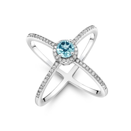 Ice Solitaire Ring (925 Silver Solitaire w/ Accent Stones Ring Set w/ Ice Blue Topaz from Swarovski)