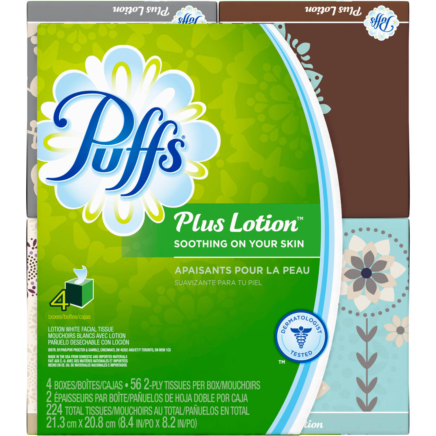 Puffs White Facial Tissues Plus Lotion, 56 sheets, 4 count