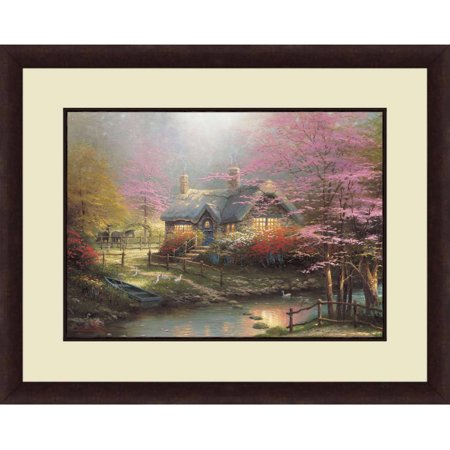 Thomas Kinkade Moonlight Cottage - Thomas Kinkade,Stepping Stone Cottage, 20x16 Decorative Wall Art