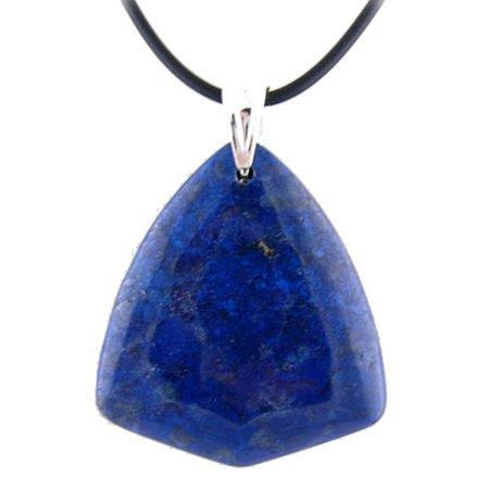Blue Lapis Stone Pendant Rubber Cord Necklace Sterling Silver Bail, (Sterling Silver Pendant Bail Clasp)
