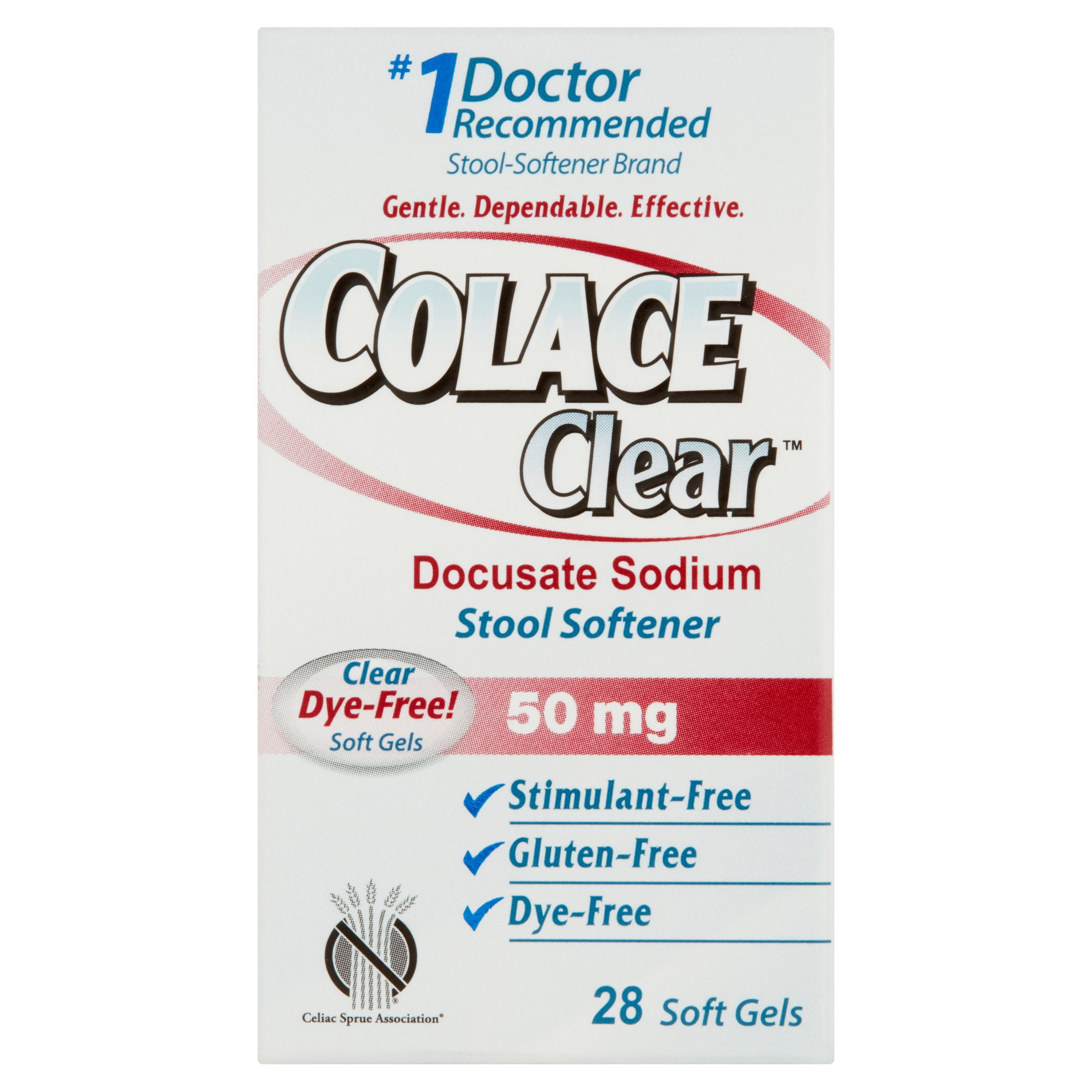 Colace Clear Docusate Sodium Stool Softener Soft Gels 50