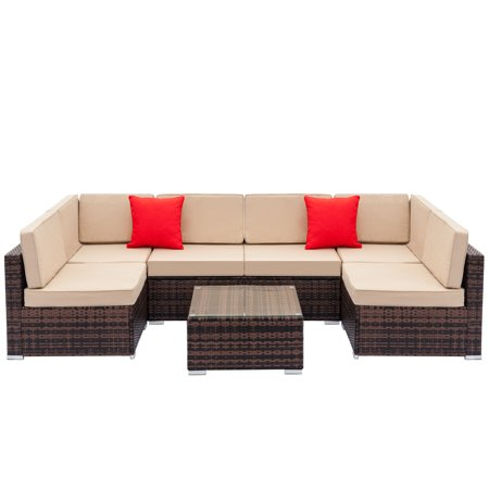 Wicker Patio Dining Set, 7-Piece Wicker Patio Furniture Conversation Set w/ Coffee Table Patio Sofa, All-Weather Rattan Sofa Sectional Furniture Set, Outdoor Couch Set for Backyard Pool, Brown, W2216 ()