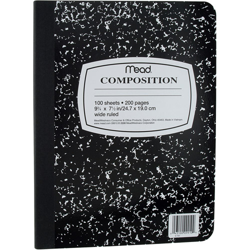 Mead Black Marble Composition Book, Wide Rule, 100-Sheets