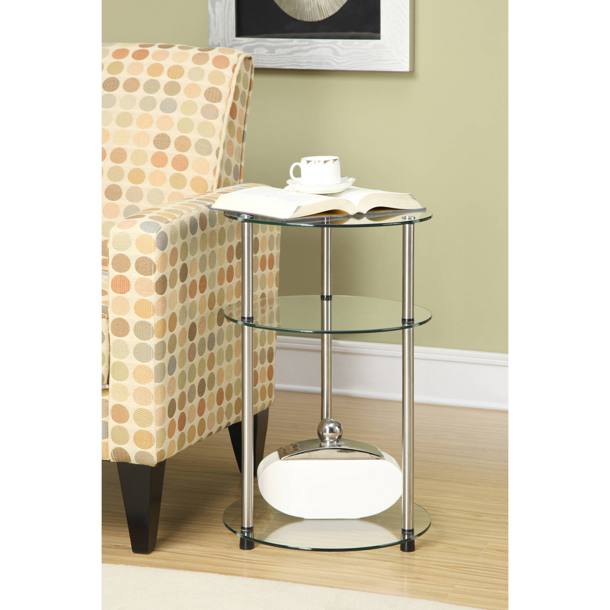 Convenience Concepts Designs2Go No Tools 3 Tier Round Table, Multiple Finishes