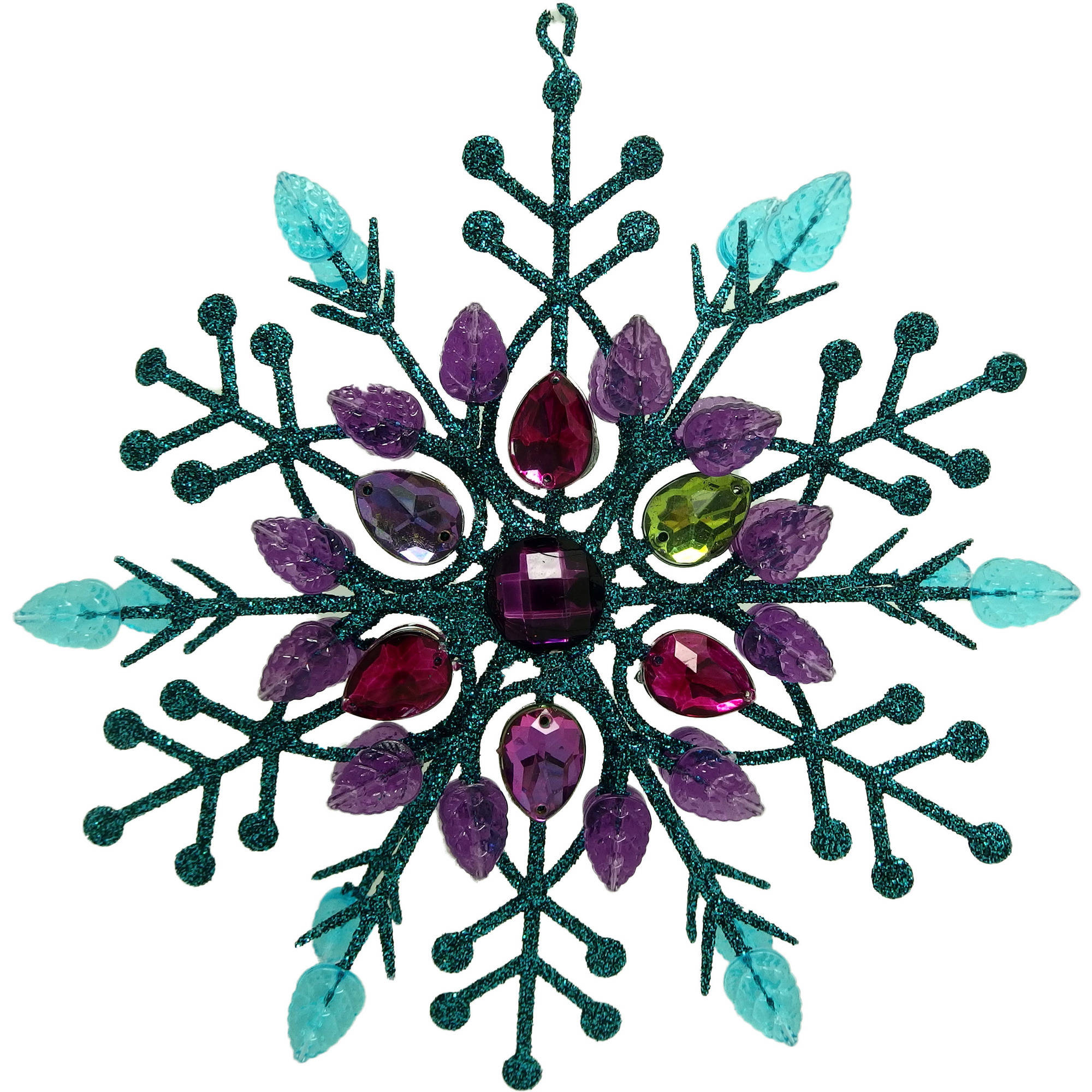 Holiday Time Christmas Ornaments 6-Piece Teal Glittered Gem Snowflake Ornament
