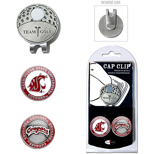 Team Golf NCAA Washington State Cap Clip With 2 Golf Ball Markers