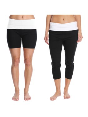 Blis Women Yoga Workout Capri Legging Pant and Short with Foldover Color Waistband 2 Piece Set Standard Plus and Maternity White Size Small