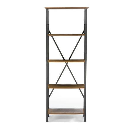 Baxton Studio Lancashire Brown Wood & Metal Bookcase Back Black Brown Wood