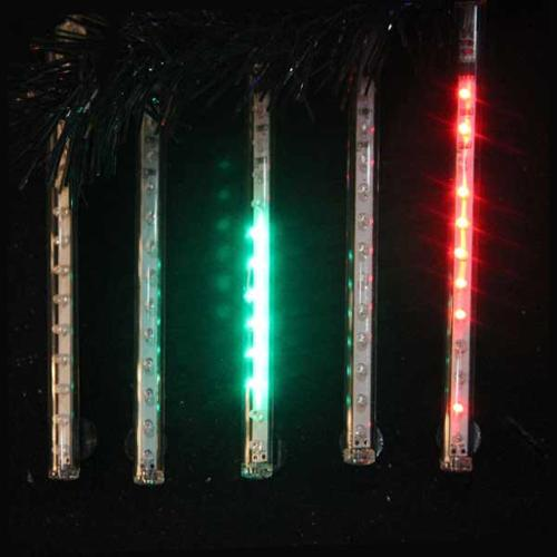 """Snowfall - Set of 5 14"""" LED Outdoor Christmas Icicle Light Tubes w/Adapter-Multi"""