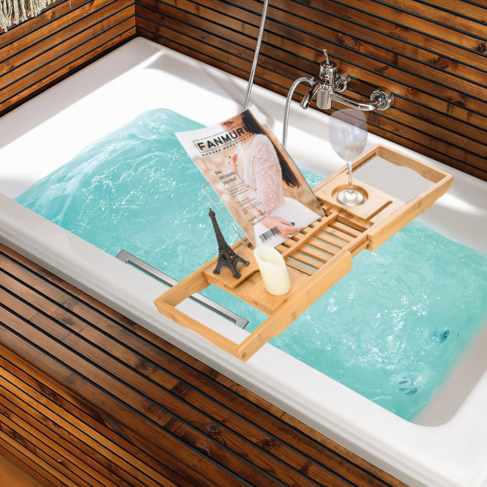 Aquaa Life Bamboo Bathtub Caddy Tray-Extendable Tray with Wine Phone Book Holder