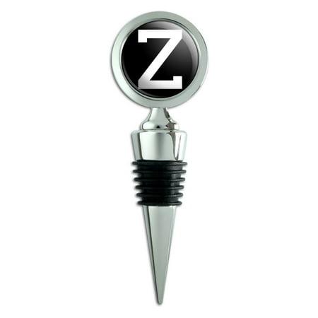 Letter Z Initial Black White Wine Bottle Stopper