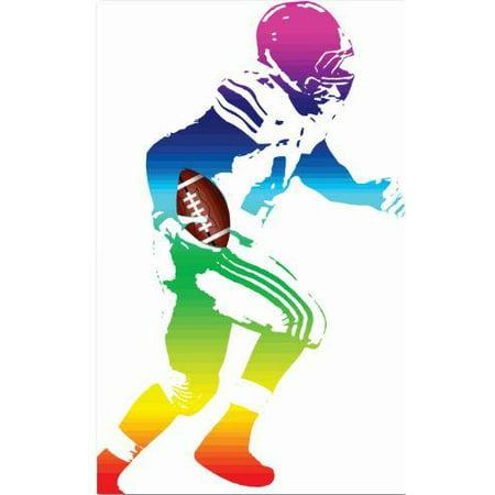 Custom Wall Decal Vinyl Sticker : Football Small Colorful Player Sport Boy Girl Teen Bedroom Bathroom Living Room Mural : 10 X20