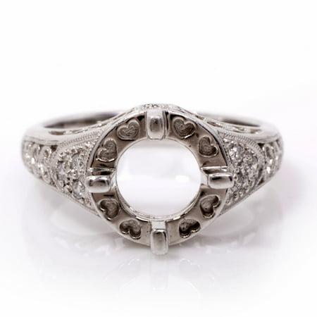 Art Deco Diamond Platinum Semi Mount Solitaire Engagement Ring Setting