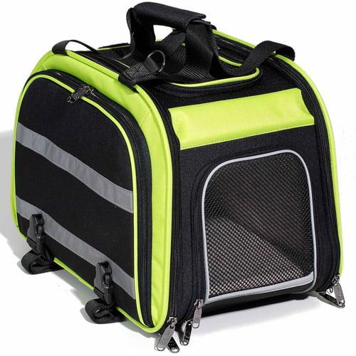 Pet Expandable Rear Pet Carrier for Bikes, Green/Black