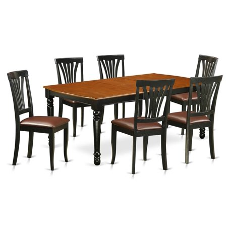 East West Furniture Doav7 Bch Lc 7 Piece Table And Chair Set With One Dover Dining Room 6 Chairs In A Black Cherry