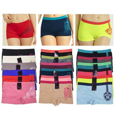 12 Sexy Love Seamless Boyshort Panties Women Underwear Brief Boy Shorts One Size - Halloween Underwear Womens