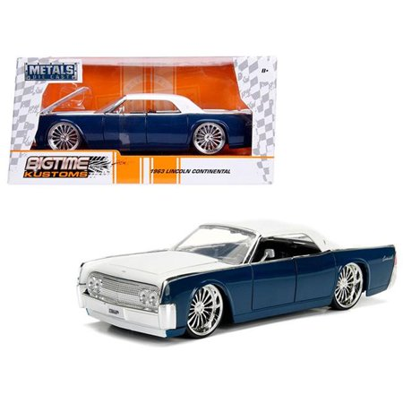 1963 Lincoln Continental Navy Blue with White Top 1/24 Diecast Model Car by (Scalextric Continental Sports Cars Best Price)