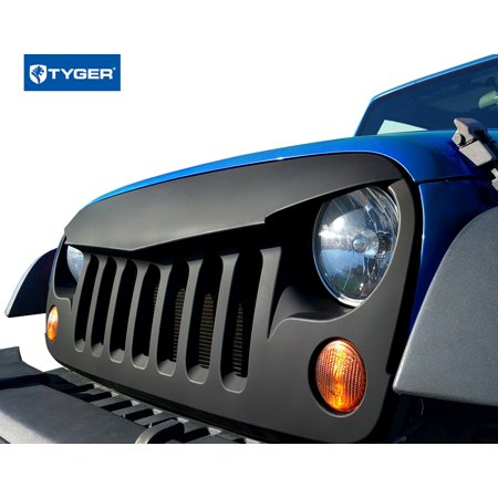 Tyger Tg Gs2j2001b Angry Grille Shell Replacement For 2007 2017 Jeep Wrangler Jk 2008 2009 2010 2011 2012 2013 2014 2015