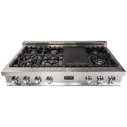 """ZLINE 48"""" Porcelain Rangetop w/ 7 Gas Cooktop Burners and Grill, Stainless Steel"""