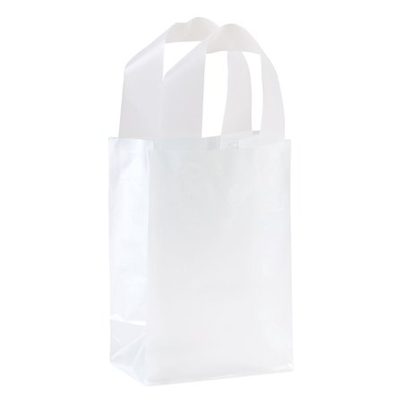 - Small Clear Frosted Plastic Shopping Bags - 5