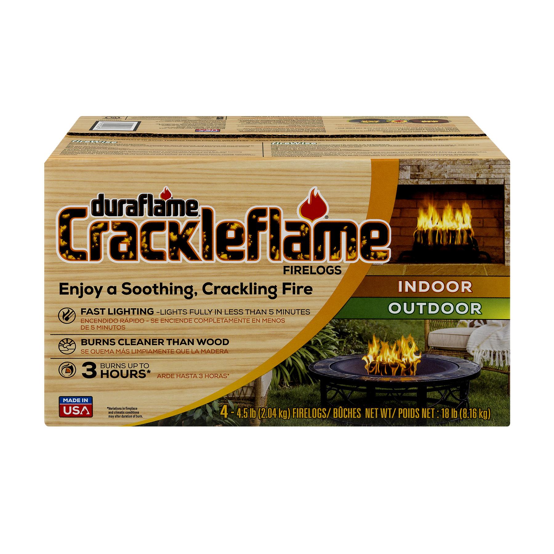 Duraflame Crackleflame 4.5lb 3-hr Indoor/ Outdoor Firelog - 4 Pack