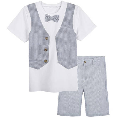 G - Cutee Little Boys White Tee with Seersucker Vest and Shorts Outfit Set, Available in Size 4 - 7