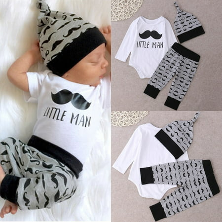 Newborn Baby Infant Boys Girls Romper+Pants Legging Hat Outfit Clothes Set 0-18M - image 1 of 5