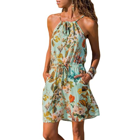 Beach Holiday Dresses for Women Spaghetti Strap Sleeveless Halter Neck Floral Print Midi Dress Casual Summer Sundress (Print Halter Sundress)